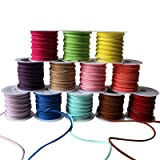 Curtzy 12 pack Suede Cord - 3m Roll Lather Lace Beading Thread with Assorted Colours - Suede Lace with 3mm Thickness - Beading Thread for Embroidery work and Jewellery Making - Cord String Ribbon