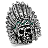 Mens Stainless Steel Polished Crystal Emerald Green Native American Skull Ring