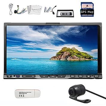 "Pupug New 7 ""2 DIN DVD Player voiture GPS Bluetooth stšŠršŠo navigation tactile voiture Radio FM Radio AM HD Retour CamšŠra 3G"