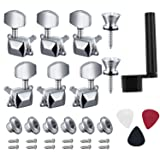 Canomo 6 Pieces Semi-closed Guitar String Tuning Pegs Keys 3 Left 3 Right Guitar Machine Heads Knobs With Strap Button Locks, Picks and Guitar String Winder for Electric or Acoustic Guitar(Silver) (Color: silver, Tamaño: Semi-closed)