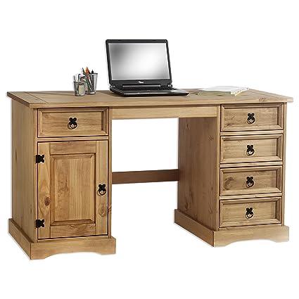Schreibtisch Mexico Möbel TEQUILA, Kiefer massiv gewachst mit Schubladen und Tur