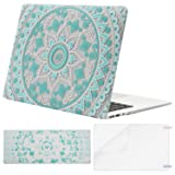 Mosiso Plastic Pattern Hard Case Shell with Keyboard Cover with Screen Protector for MacBook Air 13 Inch (Model: A1369 and A1466), Hot Blue&White Mandala (Color: Hot Blue&White Mandala)