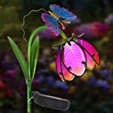 Homeimpro Garden Solar Lights Pathway Outdoor Flower Stake Metal Lights,Waterproof Warm White LED for Lawn,Patio or Courtyard (Pink) (Color: Pink)