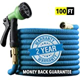 "EnerPlex 100 ft Non-Kink Expandable Garden Hose, Upgraded 10-Pattern Spray Nozzle Included, 3/4"" Brass Fittings with Shutoff Valve, Best 100' Foot Garden Hose - 2 Year Warranty - [2019 Model] Blue"