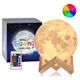 Mind-glowing 3D Moon Lamp - 16 LED Colors, Dimmable, Rechargeable Lunar Night Light (Large, 5.9in) Full Set with Wooden Stand, Remote & Touch Control - Cool Nursery Decor for your Baby, Top Gift Idea (Color: White, Tamaño: 5.9 inch diameter)