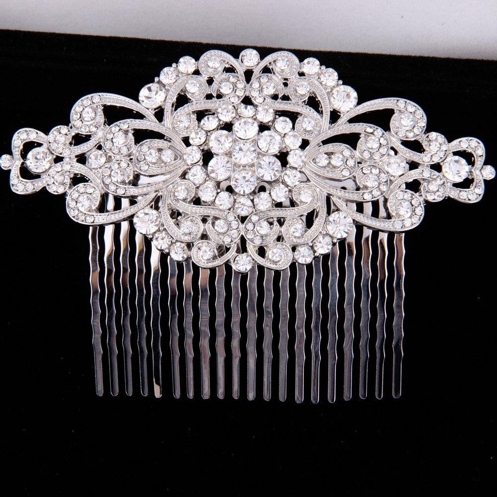 Fairy Moda Rhinestone Bridal Hair Comb Silver Wedding Bridesmaid Gift Vintage Hair Piece 2