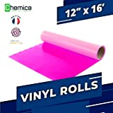 CHEMICA FirstMark HTV, Heat Transfer Vinyl 12 Inches by 16 Feet Roll for T-Shirts, Iron-On, Flexible, Compatible with Cricut, Silhouette Cameo/Portrait, Easy to Weed, PVC (Fluo Pink, 12