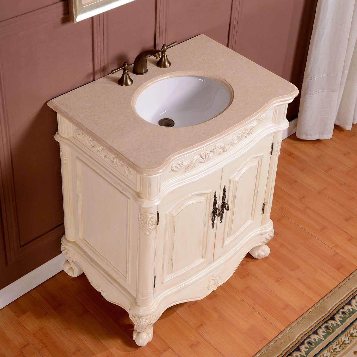 Silkroad Exclusive Marble Stone Top Single Sink Bathroom Vanity with White Oak Finish Cabinet, 32-Inch 1