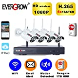 [2019 Newest] EVERGROW H.265 Wireless Home Security Cameras System,4 Channel Network IP NVR, 1TB Hard Drive,4 HD 2.0MP 1080P Wireless Weatherproof Indoor Outdoor WiFi Cameras with 100ft Night Vision (Color: 4CH+4Camera+1TB)