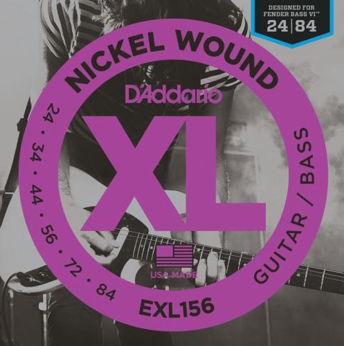 D'Addario Exl156 Nickel Wound Electric Guitar/Nickel Wound Bass Strings, Fender Nickel Wound Bass Vi, 24-84