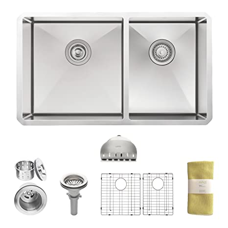 Zuhne 32 Inch Undermount 60/40 Deep Double Bowl 16 Gauge Stainless Steel Modern Kitchen Sink