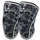 Knee Sleeves (1 Pair), 7mm Thick Compression Knee Braces Offer Strong Support for Weightlifting | Cross Training | Powerlifting | Bodybuilding | Squats | Gym and Other Sports (Camo Grey, Large) (Color: No1.camo Grey, Tamaño: Large)