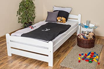 Kinderbett / Jugendbett Buche massiv Vollholz weiß 118, inkl. Lattenrost - Abmessung 100 x 200 cm