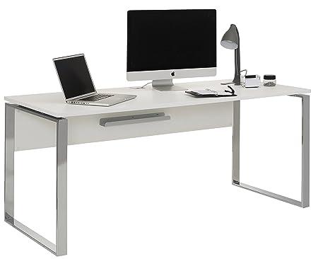 MAJA MÖBEL Schreibtisch Computertisch YAS in Weiß matt 180x76x76cm - mit Kabeldurchlass und Kabelablage