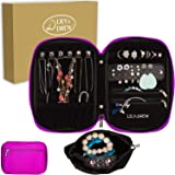 Lily & Drew Travel Jewelry Storage Carrying Case Jewelry Organizer with Removable Pouch, in Gift Box (V1B Magenta) (Color: V1b Magenta, Tamaño: Jewelry Only)