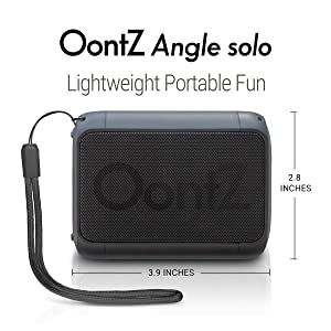 OontZ Angle Solo : Super Portable Bluetooth Speaker Compact Size Delivers Surprisingly Loud Volume and Bass 100' Wireless Range, IPX-5 Splashproof Perfect Travel Speaker Black with Lanyard (Color: Black)