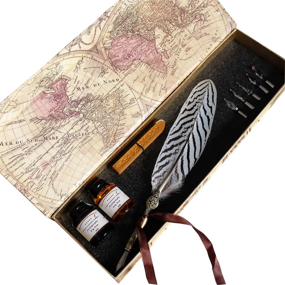 GC Writting Quill Feather Pen - 2 Bottle Inks -100% Hand Craft- Copper Pen Stem – Antique True Feather Metal Nibbed Calligraphy Pen, Dip Pen L16112 For Harry Potter Fans 0