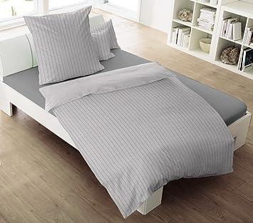 Dormisette Uni Flanell Bettwäsche Streifen Grau 135x200 Cm 80x80