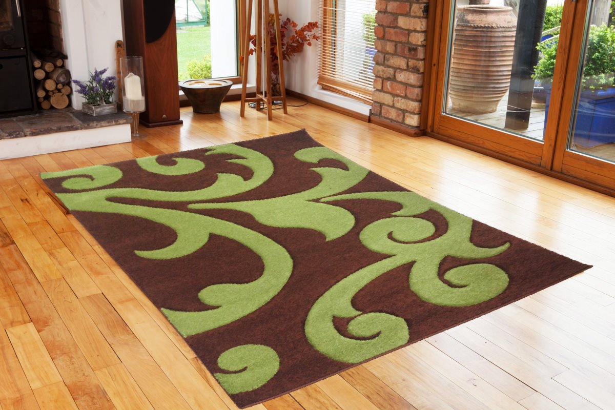 Finike Brown Green Modern Hand Carved Thick Soft Rug. Available In 6 Sizes (160_x_230_cm)       Customer reviews and more description
