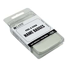 C-Line Pressure Sensitive Badges, Plain White, 3-1/2 x 2-1/4 Inches, 100 per Box (92277)