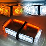 Xprite Amber/White 24 LED 12W Rooftop Strobe Light with Magnetic Base (Color: Whit & Amber)