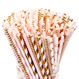 Hiware 200-Pack Pink/Gold Party Paper Straws - 8 Different Patterns Pink Straws/Gold Straws for Party, Birthday, Wedding, Bridal Shower, Baby Shower Supplies and Decorations (Color: Pink+gold, Tamaño: Paper Straws)