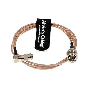 Alvin's Cables Blackmagic DIN 1.0/2.3 Mini BNC Right Angle to BNC Male 75ohm RG179 HD SDI Cable 1M