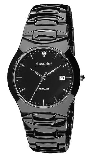 Accurist MB992S - Reloj analógico de cuarzo para hombre con correa de cerámica, color negro