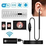 Otoscope, Wisdomspot Ear Wax Removal Tool, Ear Cleaner,Wireless Ear Otoscope Inspection Camera with 6 LED Lights for Ear Wax Removal,Compatible with iPhone Android Phones and Windows & MAC (Color: Black)