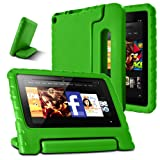 AFUNTA Fire 7 2015 Case,Light Weight Shock Proof Convertible Handle Stand EVA Protective Kids Case Compatible Amazon Fire 7 inch Display Tablet (5th Generation - 2015 Release Only)-Green (Color: green)