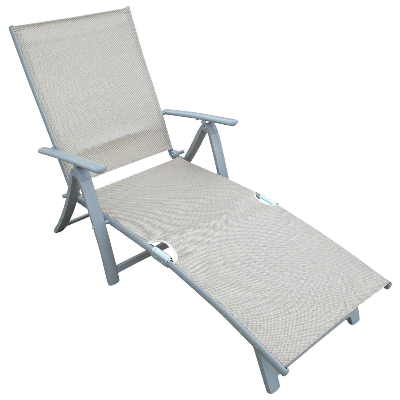 Deckchair Sonnenliege aus Alu + Textilgewebe, champagnerfarben jetzt bestellen