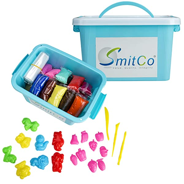 SMITCO Air Dry Clay for Kids - 36 Colors Modeling Clay in 0.70 Ounce Bags - Easy to Work with, No Crumbling Foam Craft Kit for Molding and Slime with 2 Mold Sets, 1 Tool Set in Storage Tub
