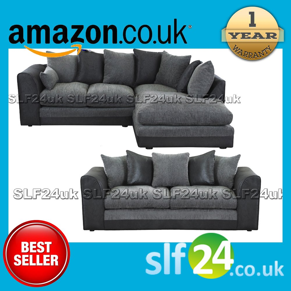 NEW Dalan Corner Sofa Left or Right Hand Sofas and 3 seater   Black Charcoal       Customer reviews and more news