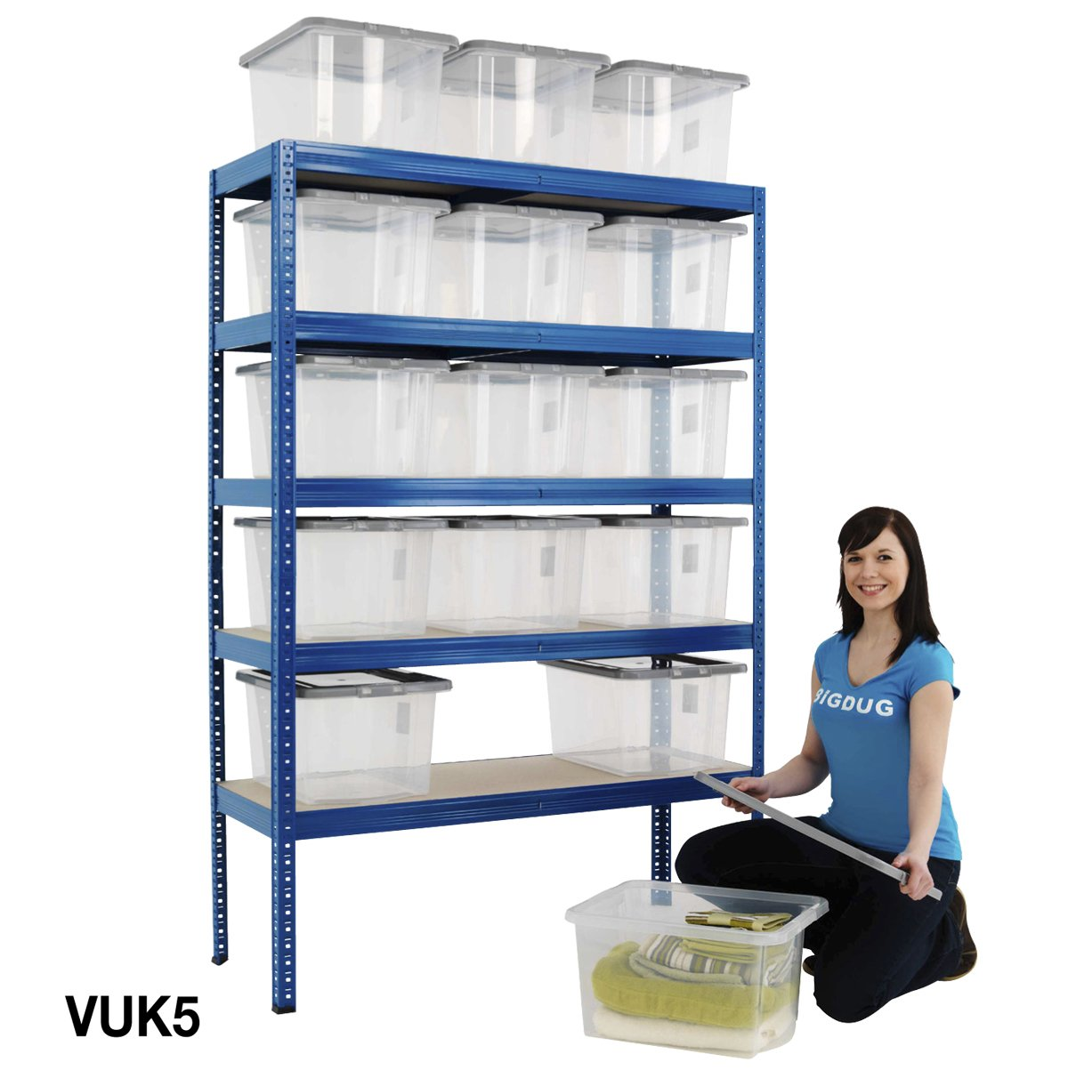 Garage Shelving Bays With 30 Litre Plastic Boxes 5 Tier 150kg UDL Storage Solution 6 Sizes (2040h x 1200w x 450d mm (15 Boxes))       Customer reviews and more information