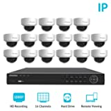 LaView Premium PoE IP 16 Camera Security Surveillance System Home/Business 16 Weatherproof IP 2MP Dome Cameras 1080P Resolution, 16 Channel 1080P HD NVR with a 3 TB HDD, (Color: 16 PoE Dome, Tamaño: 16CH NVR/T3 HDD)
