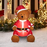Gemmy Christmas AIRBLOWN Inflatable Teddy Bear with Fuzzy Plush Material That SIMULATES Hair Outdoor Holiday Yard Decoration (Color: Brown, Tamaño: One Size)