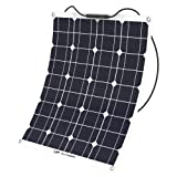 ALLPOWERS 50W 18V 12V Solar Panel Charger Water/ Shock/ Dust Resistant Solar Charger for RV, Boat, Cabin, Tent, or Any Other Irregular Surface (Color: 50W Solar Panel)