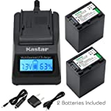 Kastar Fast Charger + Battery (2-Pack) for Sony NP-FH100, NPFH100, FH60, FH70, NP-FH90, TRV and Sony DCR-DVD405 407E 408 410E 450 602E 650E DCR-HC96 DCR-SR85 HDR-HC9 HDR-UX20 HDR-SR12 DCR-SR65E XR500E (Tamaño: 1 LCD fast charger + 2 batteries)
