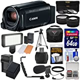 Canon Vixia HF R82 32GB Wi-Fi 1080p HD Video Camera Camcorder + 64GB Card + Battery & Charger + Case + Tripod + 3 Filters + LED + Mic + 2 Lens Kit (Color: Black)