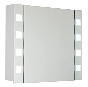myBATH Square MYBSPKMD Bathroom Cabinet with Mirrors / Adjustable Glass Shelves / T5 Fluorescent Lamp / Soft-Close / Flip Switch / Pre-Assembled / Available in 4 Sizes 80cm white