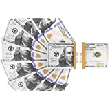 Realistic Double Sided Prop Money - Set of 100 $100 Dollar Bills $10,000 with Orange Currency Strap - Full Print Paper Money for Movie, TV, Videos, Pranks, Advertising & Novelty, 6.25 x 2.5 Inches (Color: Multi)