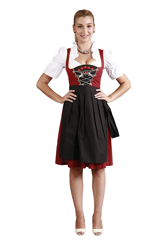 3tlg. Dirndl Set Schwarz Rot-Schwarz Kariert mit Bluse und Schürze günstig online kaufen