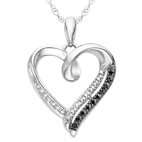 Sterling Silver Black and White Round Diamond Heart Pendant
