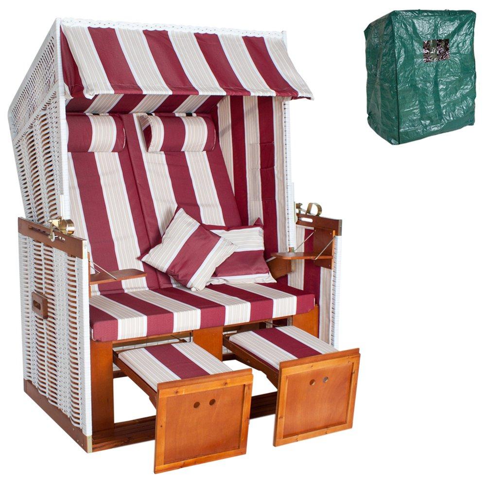 TecTake® Zweisitzer Strandkorb + Premium Schutzhülle + 2 extra Kissen + versandkostenfrei (innerhalb von Deutschland) günstig