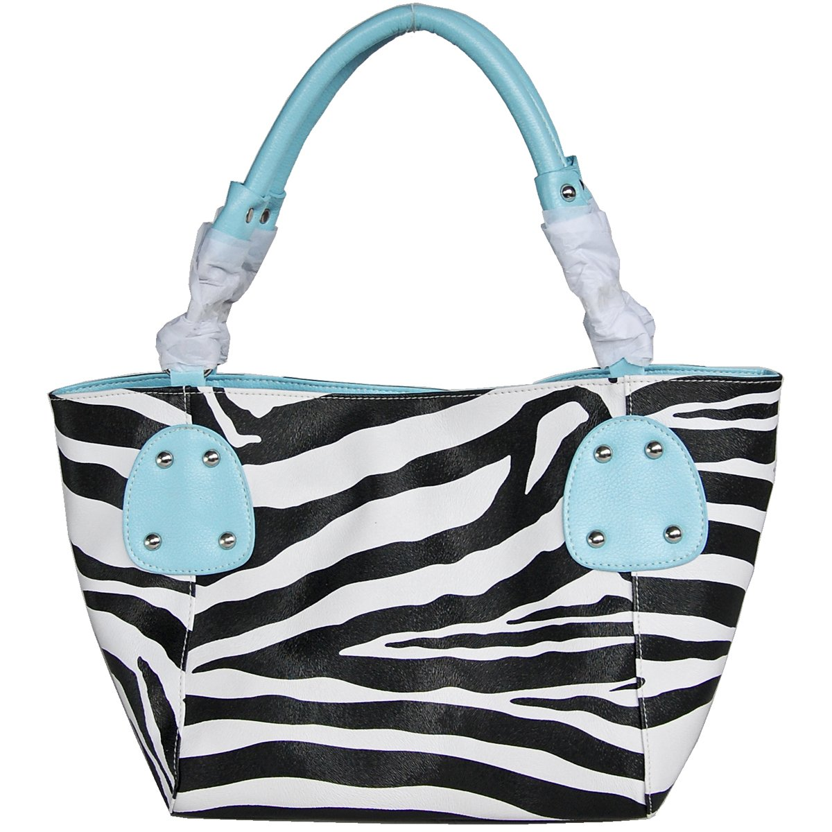 Large Zebra Print Faux Leather Tote Handbag