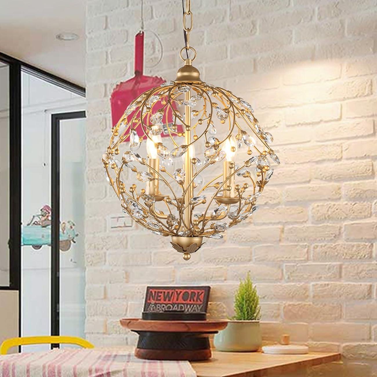 Garwarm Vintage Chandelier 3 lights Antique Pendant light Home Ceiling Light Fixtures Chandeliers Lighting,Golden 0