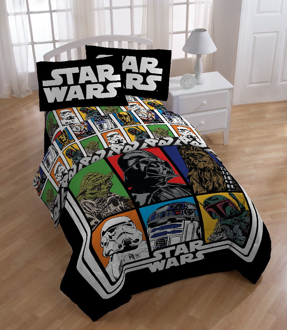 Star Wars Bedroom Accessories Uk Bedroom With Purple Accent Wall Bedroom Colours With Grey Neutral Bedroom Design Ideas: Lucas Film Star Wars Sheet Set, Full Bedroom Kids Home
