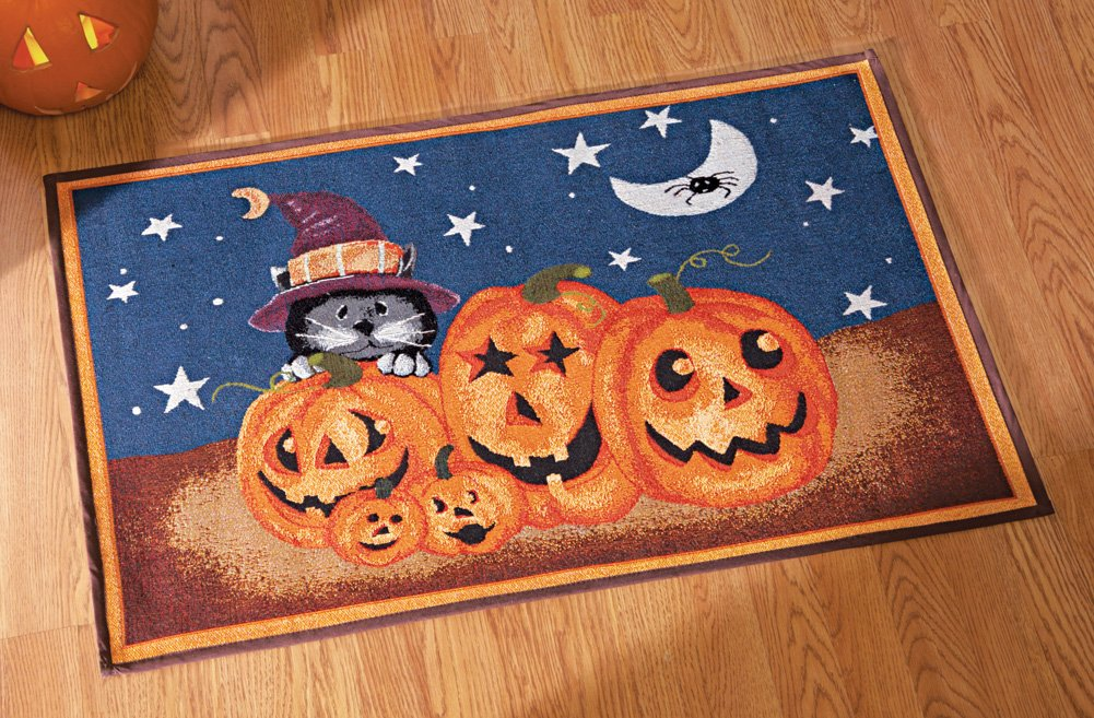 Halloween Jack O Lantern Tapestry Rug   Features Smiling Jack Ou0027 Lantern  Pumpkins Under A Starry Sky, And A Cat In A Witch S Hat.