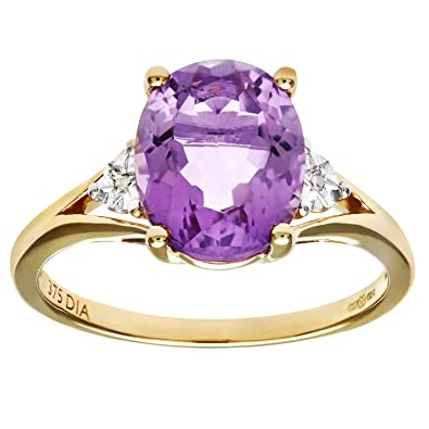 Naava 9ct Yellow Gold Oval Amethyst And Diamond Ring