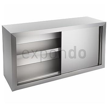 Royal Catering - Pensile a muro in acciaio inox - 120 x 40 cm (LxB) - con due ante scorrevoli - materiale di fissaggio incluso
